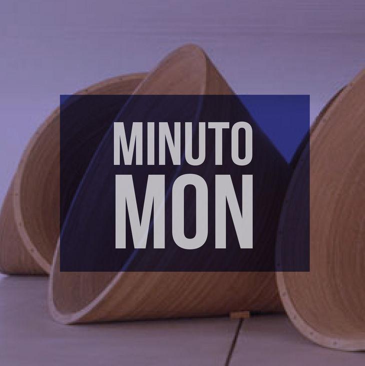 """Imagem de artes em formato de cone. Centralizado, texto """"Minuto Mon""""."""